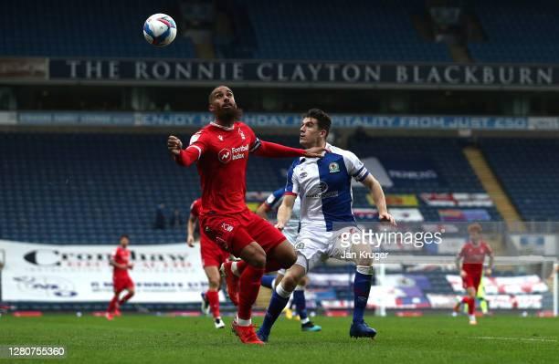 Lewis Grabban of Nottingham Forest battles with Darragh Lenihan of Blackburn Rovers during the Sky Bet Championship match between Blackburn Rovers...
