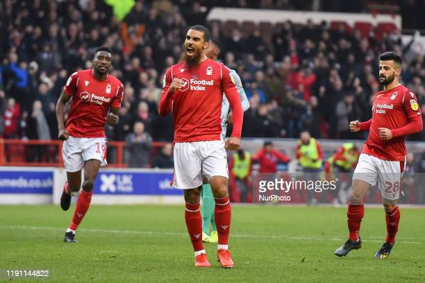 Lewis Grabban of Nottingham Forest celebrates after scoring a goal to make it 2-0 during the Sky Bet Championship match between Nottingham Forest and...