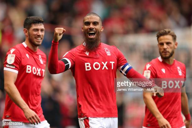 Lewis Grabban of Nottingham Forest celebrates after scoring a goal to make it 1-0 during the Sky Bet Championship match between Nottingham Forest and...