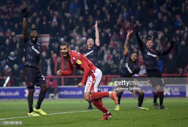 Lewis Grabban of Nottingham Forest celebrates scoring his sides first goal during the Sky Bet Championship match between Nottingham Forest and...