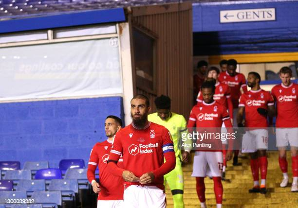 Lewis Grabban of Nottingham Forest leads his team out prior to during the Sky Bet Championship match between Coventry City and Nottingham Forest at...