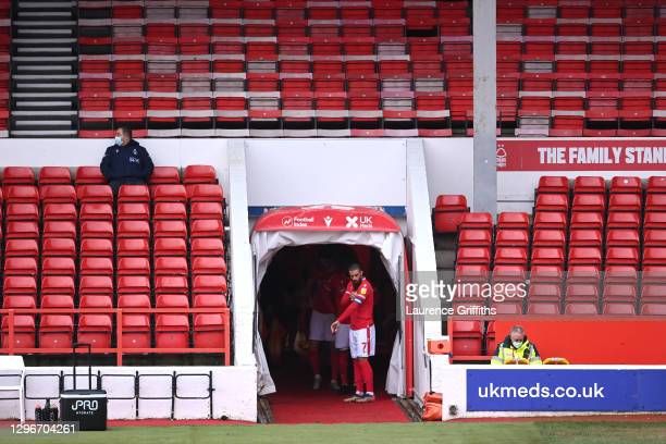 Lewis Grabban of Nottingham Forest prepares to lead the team out prior to the Sky Bet Championship match between Nottingham Forest and Middlesbrough...