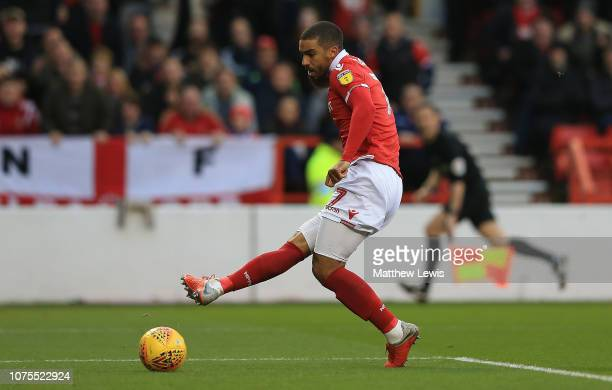 Lewis Grabban of Nottingham Forest scores a goal during the Sky Bet Championship match between Nottingham Forest and Ipswich Town at City Ground on...