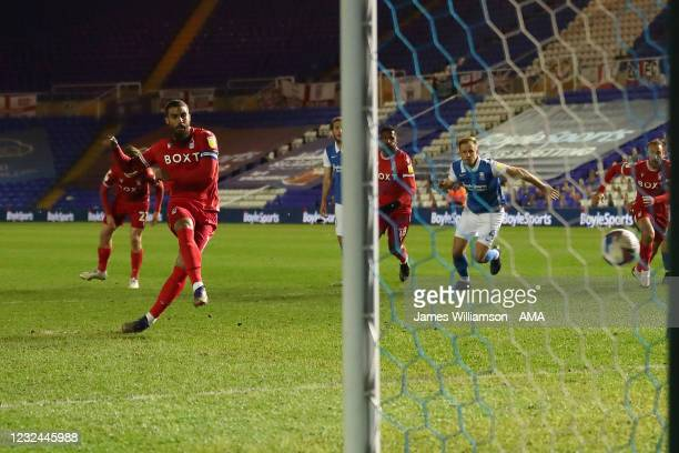 Lewis Grabban of Nottingham Forest scores a goal from the penalty spot to make it 1-1 during the Sky Bet Championship match between Birmingham City...