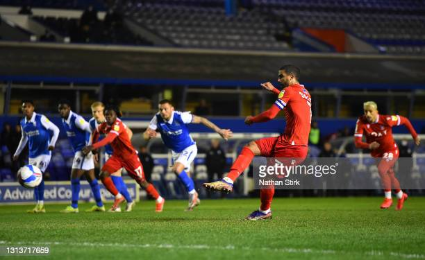 Lewis Grabban of Nottingham Forest scores their side's first goal from the penalty spot during the Sky Bet Championship match between Birmingham City...