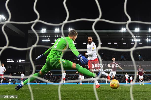 Lewis Grabban of Notts Forest scores to make it 10 during the Sky Bet Championship match between Aston Villa and Nottingham Forest at Villa Park on...