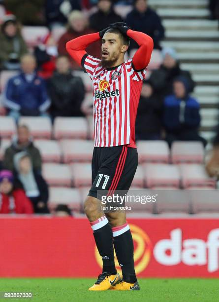 Lewis Grabban of Sunderland after going close during the Sky Bet Championship match between Sunderland and Fulham at Stadium of Light on December 16...