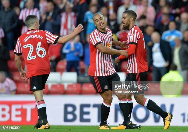 Lewis Grabban of Sunderland celebrates with James Vaughan of Sunderland after scoring a goal from the penalty spot during the Sky Bet Championship...