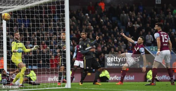 Lewis Grabban of Sunderland scores Aston Villa goal during the Sky Bet Championship match between Aston Villa and Sunderland at Villa Park on...