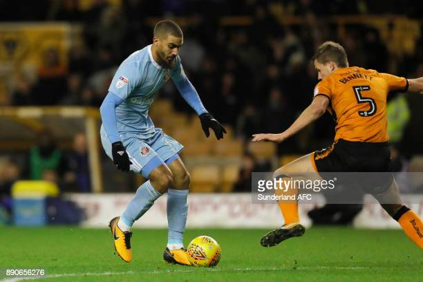 Lewis Grabban of Sunderland takes on Ryan Bennett of Wolverhampton Wanderers during the Sky Bet Championship match between Wolverhampton and...