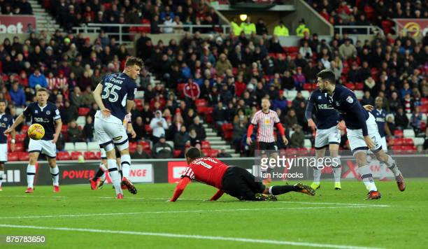 Lewis Grabban scores with a header but has it ruled out for a foul during the Sky Bet Championship match between Sunderland and Millwall at the...