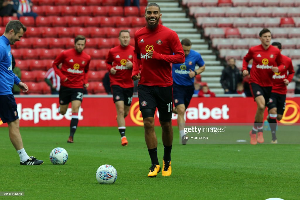 Lewis Graham of Sunderland warms up before the Sky Bet Championship match between Sunderland and Queens Park Rangers at Stadium of Light on October 14, 2017 in Sunderland, England.