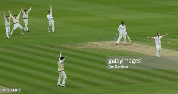 Lewis Gregory and Somerset appeal for the wicket of Dan Lawrence of Essex during Day 5 of the Bob Willis Trophy Final between Somerset and Essex at...