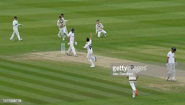 Lewis Gregory and Somerset celebrate the wicket of Nick Browne of Essex during Day 5 of the Bob Willis Trophy Final between Somerset and Essex at...