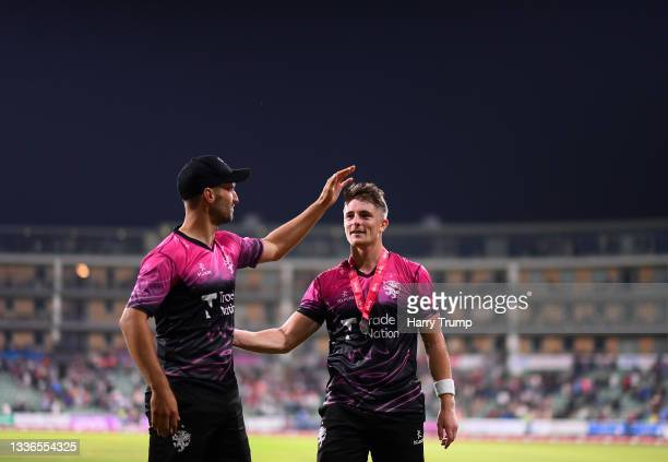 Lewis Gregory and Tom Abell of Somerset celebrate following the Vitality T20 Blast Quarter Final match between Somerset CCC and Lancashire Lightning...