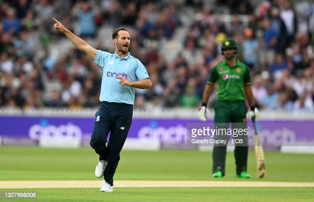 Lewis Gregory of England celebrates dismissing Imam-ul-Haq of Pakistan during the 2nd Royal London Series One Day International between England and...