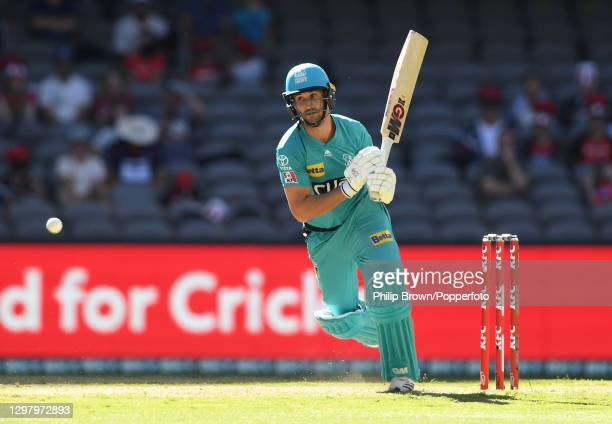 Lewis Gregory of Heat bats during the Big Bash League match between the Melbourne Renegades and the Brisbane Heat at Marvel Stadium, on January 23 in...