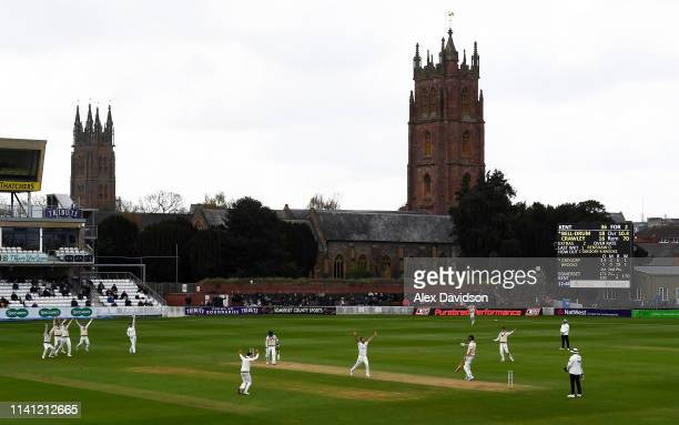 Lewis Gregory of Somerset appeals for the wicket of Daniel BellDrummond during Day 4 of the Specsavers County Championship Division One match between...