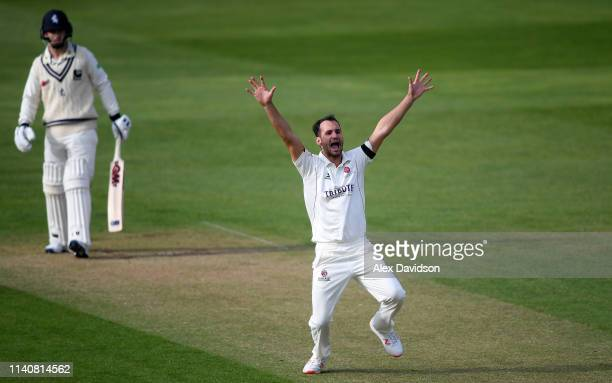 Lewis Gregory of Somerset appeals for the wicket of Sean Dickson during Day 2 of the Specsavers County Championship match between Somerset and Kent...