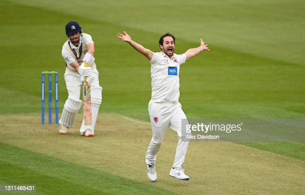 Lewis Gregory of Somerset appeals successfully for the wicket of Stephen Eskinazi of Middlesex during Day One of the LV= Insurance County...