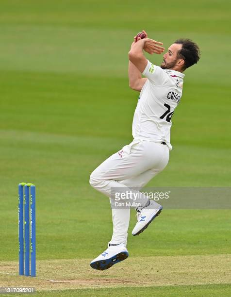Lewis Gregory of Somerset bowls during day four of the LV= Insurance County Championship match between Hampshire and Somerset at Ageas Bowl on May...