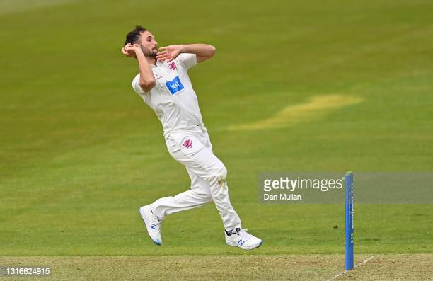 Lewis Gregory of Somerset bowls during day one of the LV= County Championship match between Hampshire and Somerset at Ageas Bowl on May 06, 2021 in...