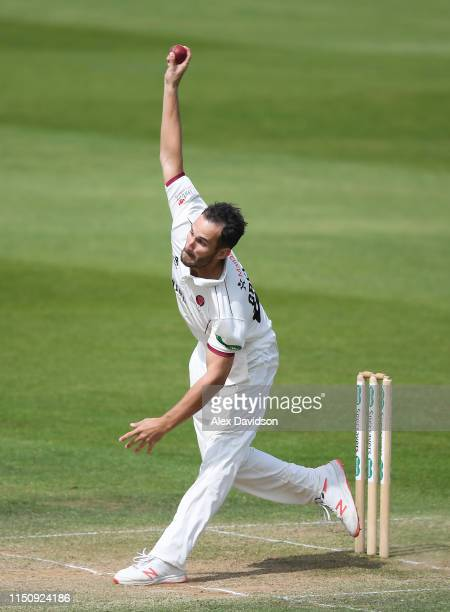 Lewis Gregory of Somerset bowls during Day Three of the Specsavers County Championship match between Somerset and Warwickshire at The Cooper...