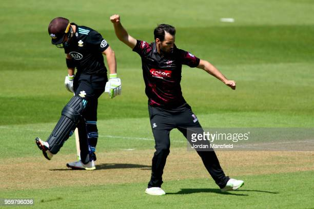 Lewis Gregory of Somerset celebrates dismissing Dean Elgar of Surrey during the Royal London OneDay Cup match between Surrey and Somerset at The Kia...