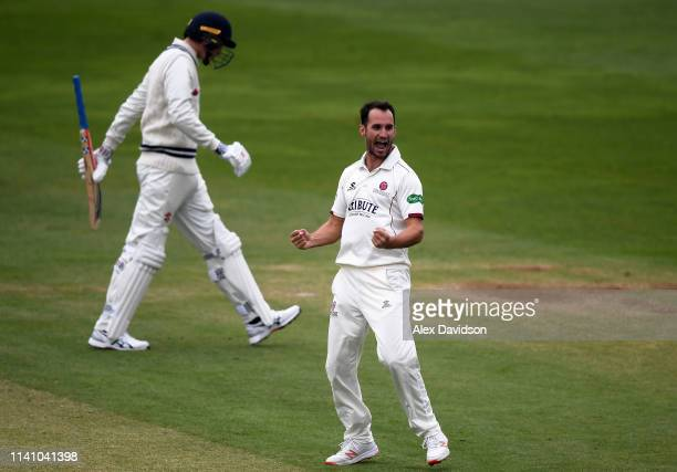 Lewis Gregory of Somerset celebrates taking the Matt Renshaw of Kent during Day 3 of the Specsavers County Championship Division One match between...