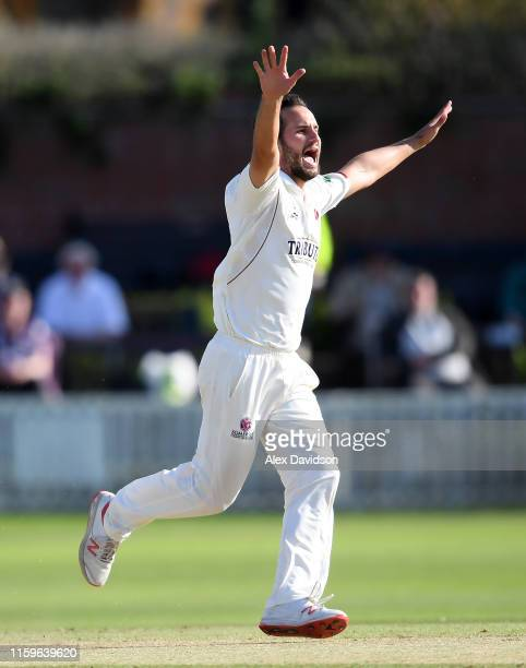 Lewis Gregory of Somerset celebrates taking the wicket of Oli Soanes of Hampshire during Day Three of the Specsavers County Championship Division One...