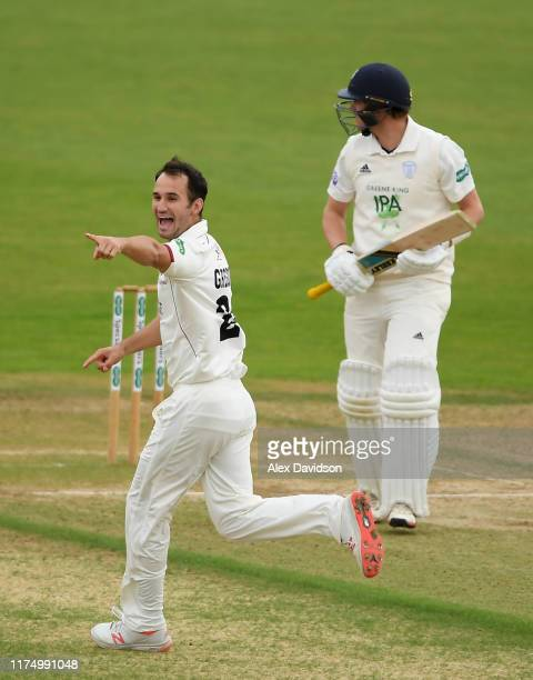 Lewis Gregory of Somerset celebrates the wicket of Sam Northeast of Hampshire during Day One of The Specsavers Division One County Championship match...