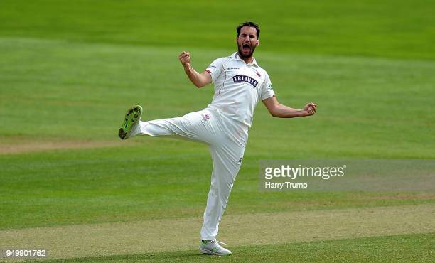 Lewis Gregory of Somerset celebrates the wicket of Tom Fell of Worcestershire during Day Three of the Specsavers County Championship Division One...