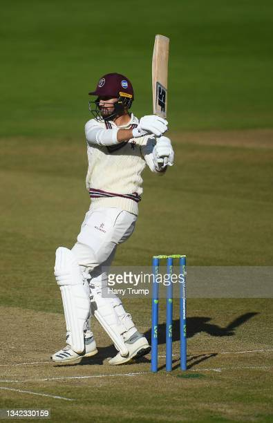 Lewis Gregory of Somerset plays a shot during Day Four of the LV= Insurance County Championship match between Warwickshire and Somerset at Edgbaston...