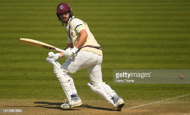 Lewis Gregory of Somerset plays a shot during Day Three of the LV= Insurance County Championship match between Somerset and Gloucestershire at The...