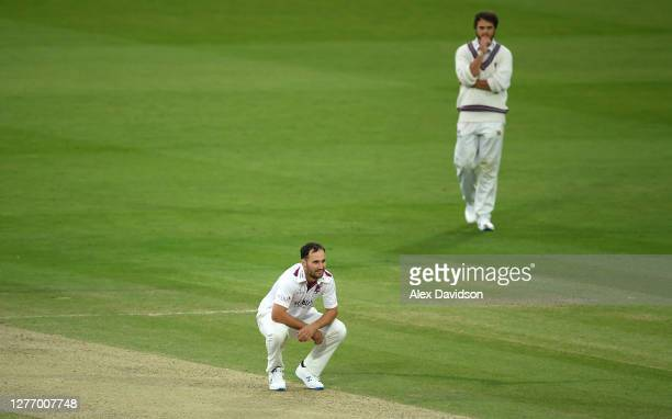 Lewis Gregory of Somerset reacts during Day 5 of the Bob Willis Trophy Final between Somerset and Essex at Lord's Cricket Ground on September 27,...