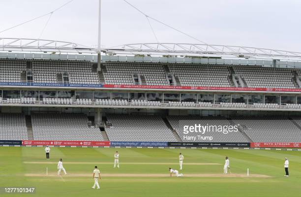 Lewis Gregory of Somerset reacts to a near miss during Day Five of the Bob Willis Trophy Final match between Somerset and Essex at Lord's Cricket...
