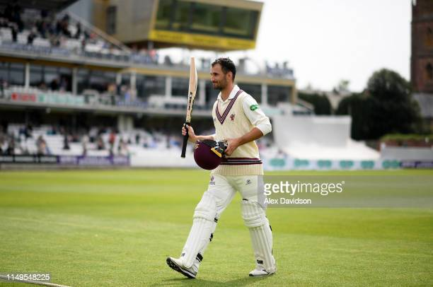 Lewis Gregory of Somerset walks off at the end of his innings during Day Three of the Specsavers County Championship match between Somerset and...