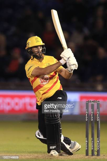 Lewis Gregory of Trent Rockets batting during The Hundred match between Welsh Fire Men and Trent Rockets Men at Sophia Gardens on August 06, 2021 in...