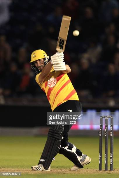 Lewis Gregory of Trent Rockets hits a boundary during The Hundred match between Welsh Fire Men and Trent Rockets Men at Sophia Gardens on August 06,...