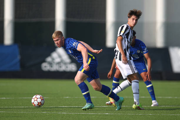 Lewis Hall of Chelsea and Fabio Miretti of Juventus during a UEFA Youth League match between Juventus and Chelsea at JTC Continassa - Juventus...