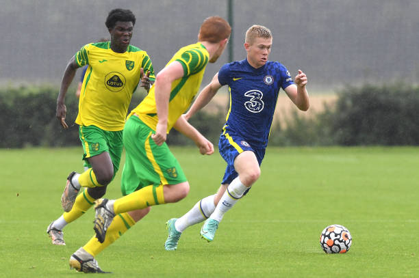 Lewis Hall of Chelsea breaks through the defence during the Norwich City v Chelsea U18 Premier League match at the Lotus Training Ground on August...