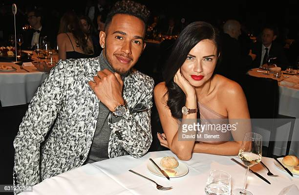 Lewis Hamilton and Adriana Lima attend the IWC Schaffhausen 'Decoding the Beauty of Time' Gala Dinner during the launch of the Da Vinci Novelties...