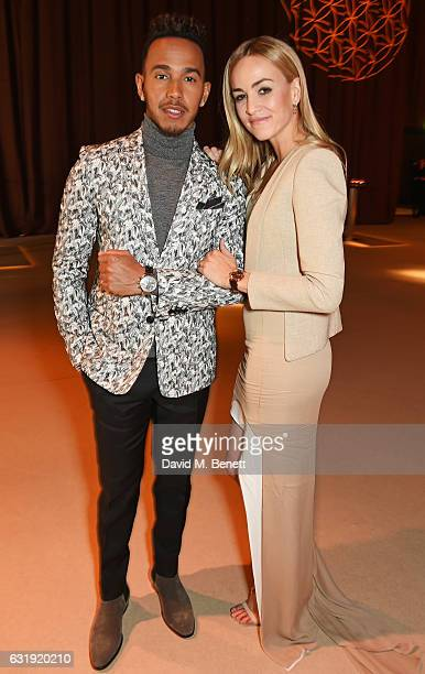 Lewis Hamilton and Carmen Jorda attend the IWC Schaffhausen 'Decoding the Beauty of Time' Gala Dinner during the launch of the Da Vinci Novelties...