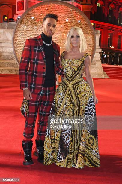Lewis Hamilton and Donatella Versace attend The Fashion Awards 2017 in partnership with Swarovski at Royal Albert Hall on December 4 2017 in London...
