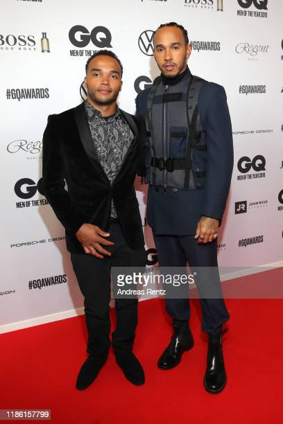 Lewis Hamilton and his brother Nicolas Hamilton arrive for the 21st GQ Men of the Year Award at Komische Oper on November 07, 2019 in Berlin, Germany.