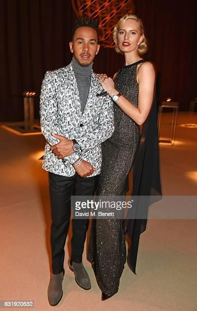 Lewis Hamilton and Karolina Kurkova attend the IWC Schaffhausen 'Decoding the Beauty of Time' Gala Dinner during the launch of the Da Vinci Novelties...
