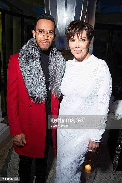 Lewis Hamilton and Kris Jenner attend the Editorialist Spring/Summer 2016 Issue Launch Party at the Hotel Peninsula as part of the Paris Fashion Week...