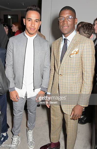 Lewis Hamilton and Labrinth attend a cocktail reception celebrating the Tom Ford Spring/Summer 2016 collection during London Collections Men at the...