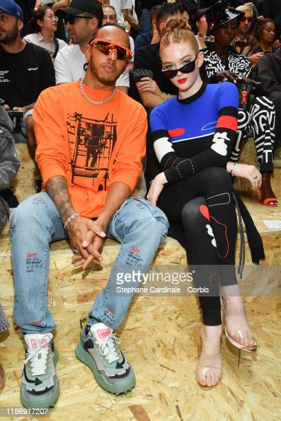 Lewis Hamilton and Larsen Thompson attend the Off-White Menswear Spring Summer 2020 show as part of Paris Fashion Week on June 19, 2019 in Paris,...