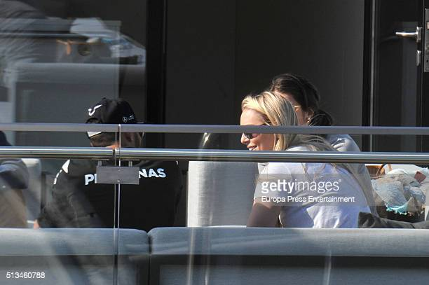 Lewis Hamilton and Lindsey Vonn attend day two of F1 winter testing at Circuit de Catalunya on March 2 2016 in Montmelo Spain